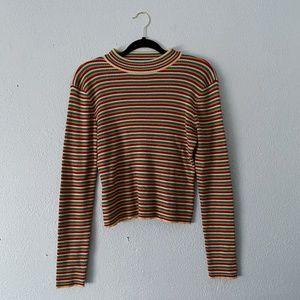 Retro Striped Mock-Neck Sweater